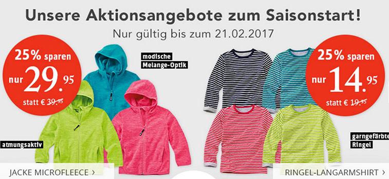 Nur noch heute: 25% auf ausgewählte Kinderbekleidung bei jako-o.de
