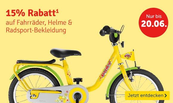 Fahrräder, Helme & Co bei mytoys.de - 15% Rabatt