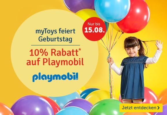 Mytoys.de feiert Geburtstag - 10% Rabatt auf Playmobil
