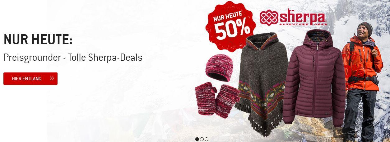 Nur heute 50% auf ausgewählte Sherpa Produkte